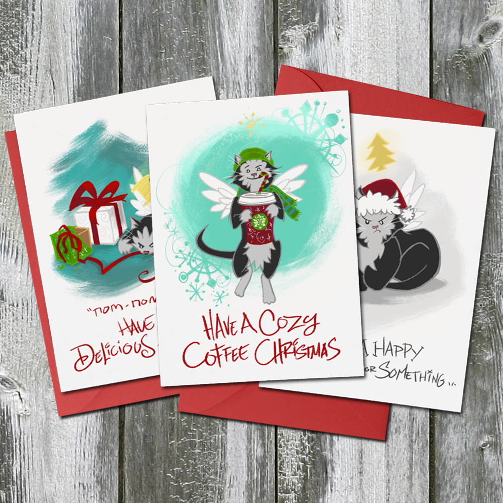 Trouble the Cat Christmas Card Bundle 3-Pack
